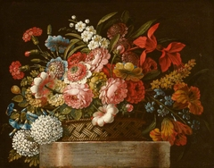 Still Life of Flowers in a Basket on a Plinth