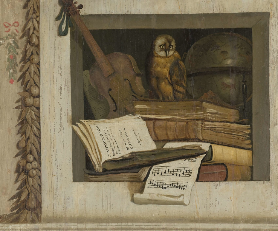 Still Life with Books, Sheet Music, Violin, Celestial Globe and an Owl