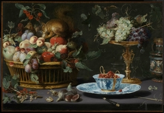 Still Life with Fruit, Wan-Li Porcelain, and Squirrel