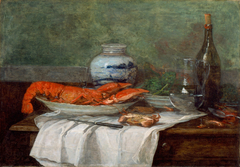 Still Life with Lobster on a White Tablecloth