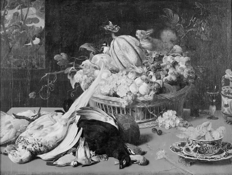 Still Life with Small Game, Basket of Fruit, Goldfinches and a Squirrel