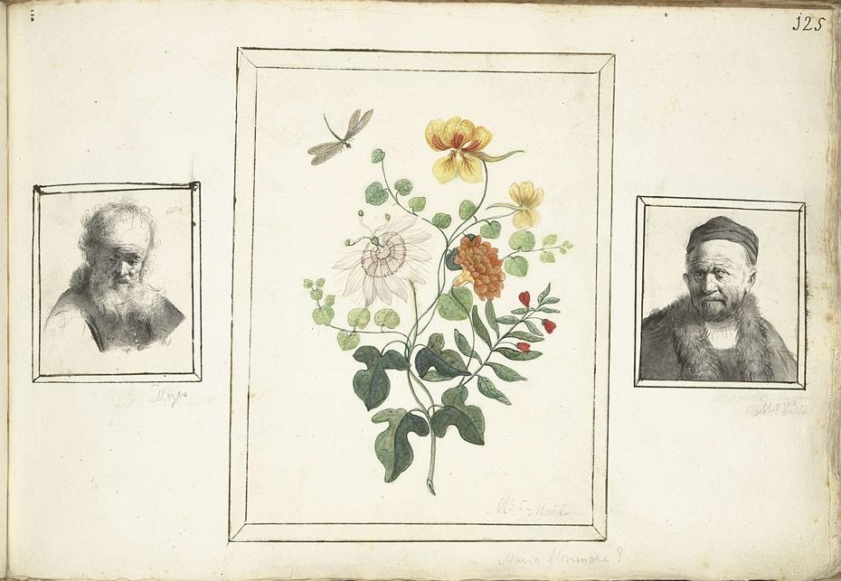 Stilleven met bloemen, een hoofd en een buste van een man
