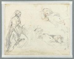 Studie voor de figuur van Maria in de Geboorte in het Prado, Madrid, en twee studie van een slapend Christuskind