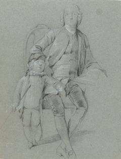 Studie voor een portret van een vader met zijn zoon