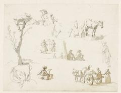 Studies van landlieden, paarden en een ooievaarsnest