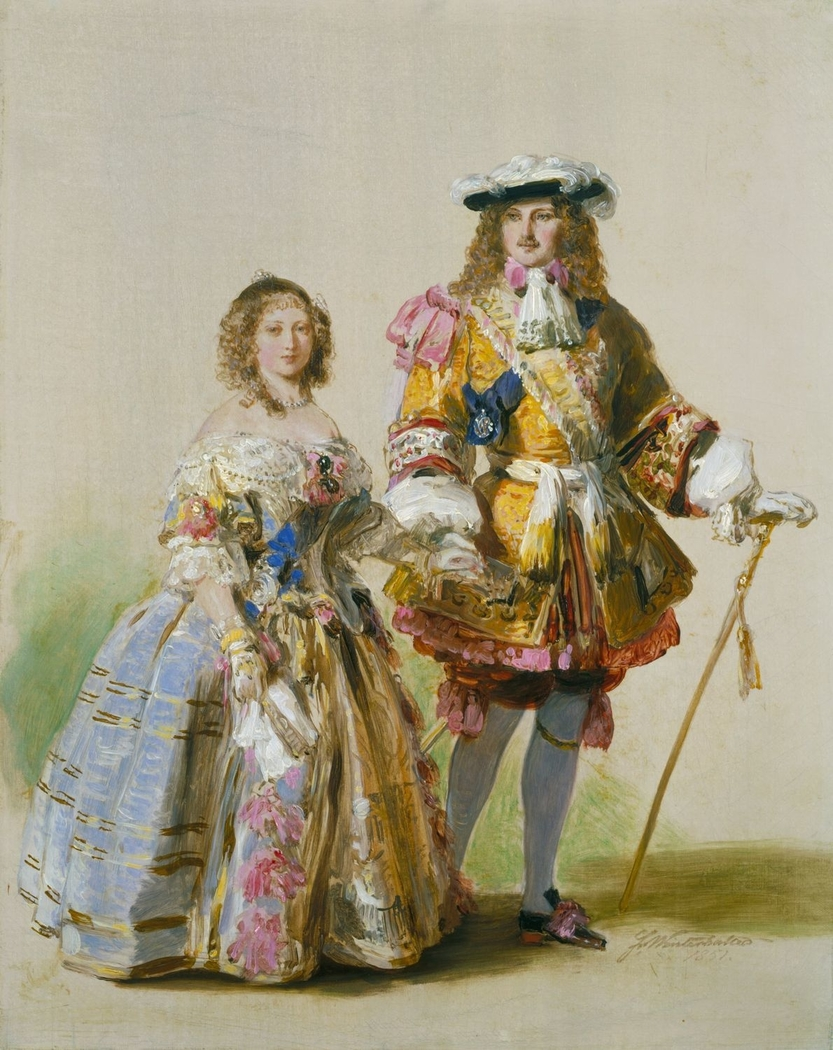 Study of Queen Victoria and Prince Albert in costumes of the time of Charles II