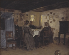The Artist's Friends and Family Seated Round a Table. Vejby, North Zealand