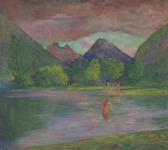 The Entrance to the Tautira River, Tahiti. Fisherman Spearing a Fish