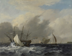The Navy's Man-of-War 'Amsterdam'off the Westerlaag on Y at Amsterdam