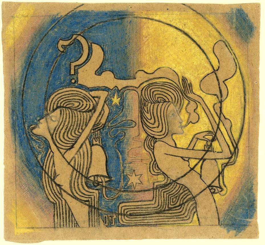 Twee gestileerde vrouwelijke figuren met klok in de hand
