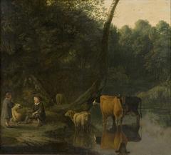 Twee herders met koeien en schapen bij een drinkplaats