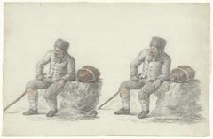 Twee studies van een zittende man langs de kant van de weg