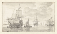 Two Becalmed War Frigates and Other Vessels
