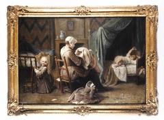 Une chambre où une servante habille des enfants