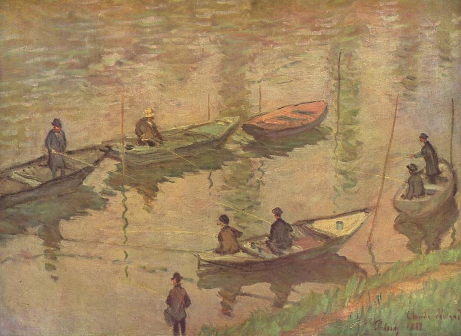 Fischer auf der Seine bei Poissy