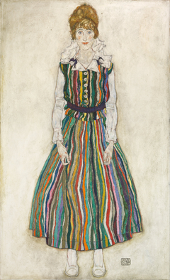 Portrait Of Edith Schiele In A Striped Dress