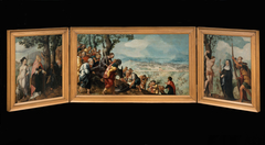 Triptych with The Entry of Christ into Jerusalem, saints and on the outside of the wings, patrons of the Van Lokhorst family