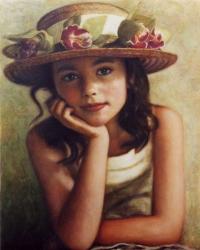 Kοριτσάκι με ψάθινο καπέλο