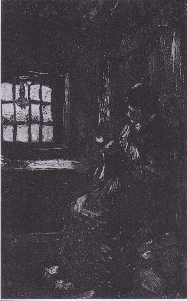 Peasant woman darning socks
