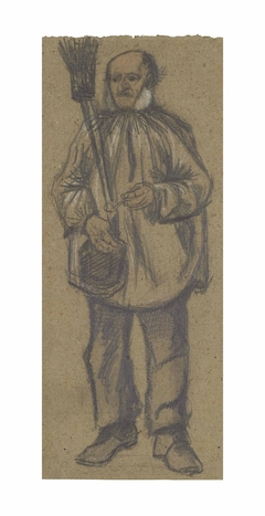 Orphan Man, Wearing a Blouse, with Broom and Pipe