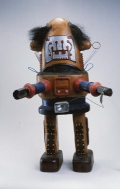 Untitled (wood robot statue)