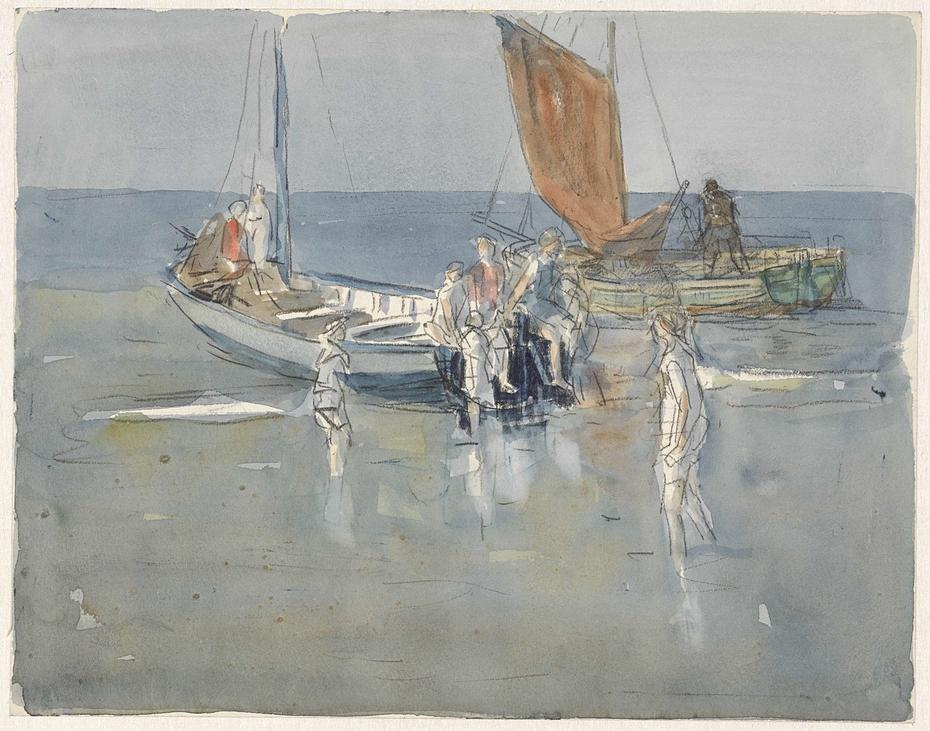 Vissersschepen op het strand van Scheveningen