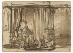 Vrouw (Saskia?) zittend in een hemelbed