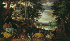 Wooded landscape with animals