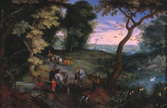 Wooded Landscape with Horsemen and Cattle