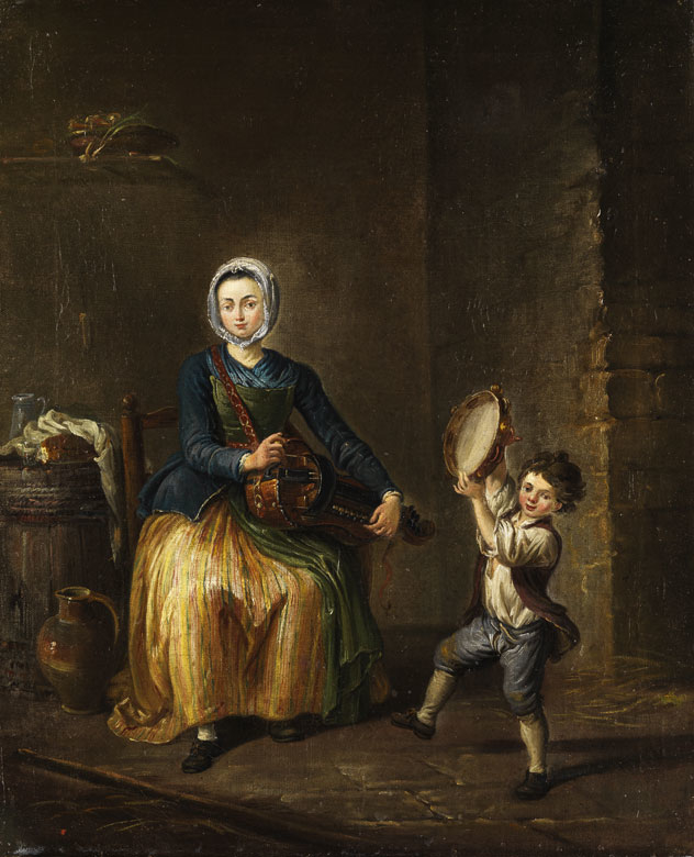 Young woman with a hurdy gurdy and a child with tambourine