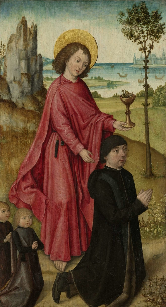 A Donor and his two Sons with Saint John the Evangelist, inner left wing of a triptych