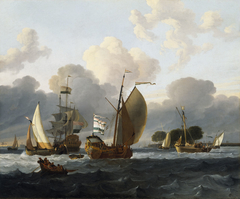 A Dutch Yacht before the Wind in a Harbour