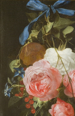 A festoon of flowers and fruit, hanging from a nail