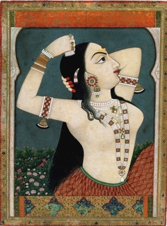 A lady combing her hair