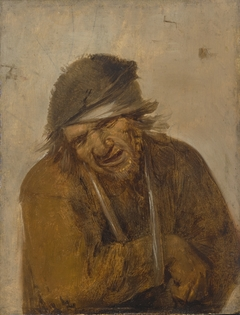 A peasant grimacing with his arm in a sling