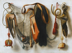 A Trompe l'Oeil of Hawking Equipment, including a Glove, a Net and Falconry Hoods, hanging on a Wall