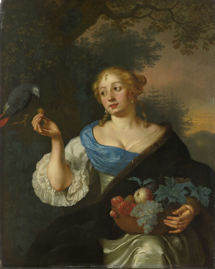 A young Woman with a Parrot