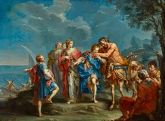 Achilles takes leave of the Centaur Chiron
