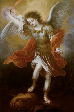 Archangel Michael plunges the devil into the abyss