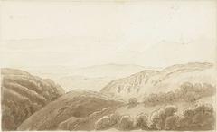 Avondlicht over de bergen bij Tivoli