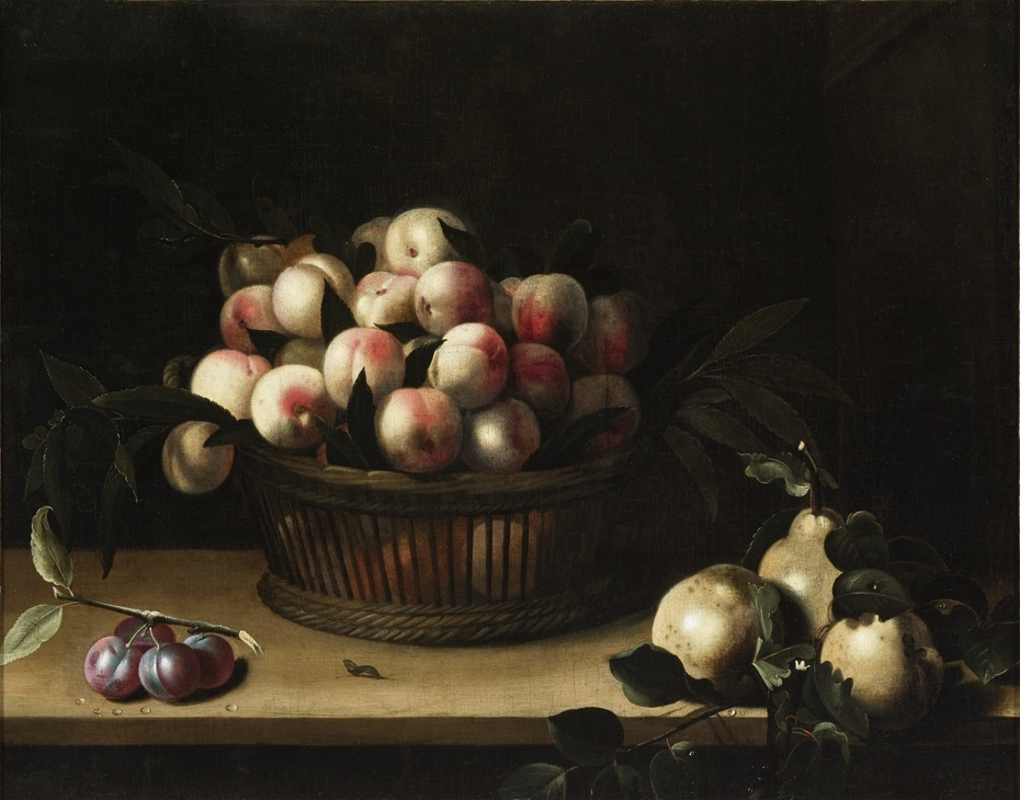 Basket of Peaches, with Quinces, and Plums