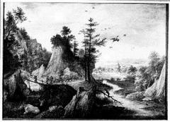 Bergachtig landschap met een dorp in de verte