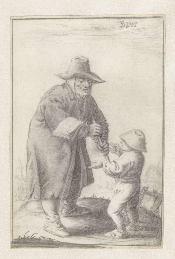 Blinde man, die liedjes verkoopt, met jongetje