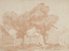 Boerenerf met twee bomen, waartussen ladders staan