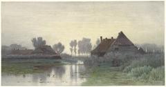 Boerenwoningen aan het water bij ochtendnevel