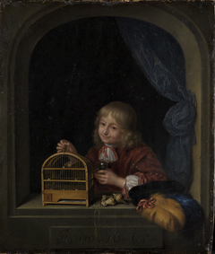 Boy with a Birdcage in a Window