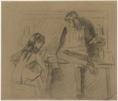 De nichtjes Letje en Lizzy Ansingh als schoolmeisjes aan het werk