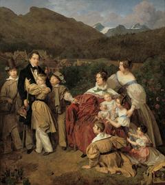 Der Notar Dr. Josef August Eltz mit seiner Gattin Caroline, geb. Schaumburg, und den acht Kindern in Ischl
