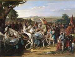 El rey don Rodrigo arengando a los jefes de su ejército antes de dar la batalla del Guadalete