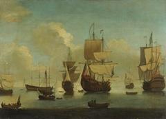 English warships at anchor in a calm, drying sails